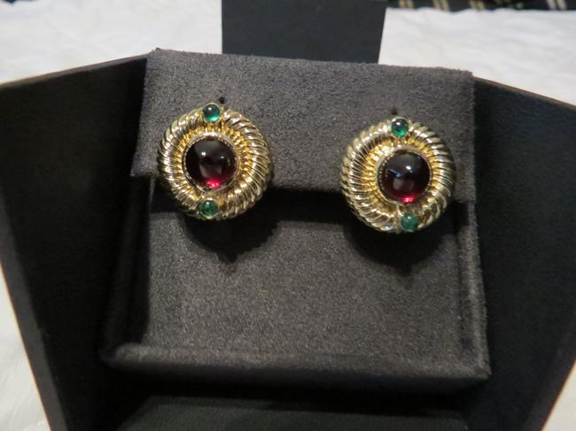 Item - Gold/Red/Green Refurbished By Dy - Renaissance Collection 14k Cabochon Garnet/Emerald Earrings
