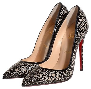 Christian Louboutin So Pretty Glitter Patent Leather Store Display Never Worn BLACK Pumps