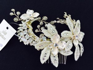 Gold Embroidered Floral Hair Comb