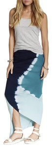 Young Fabulous & Broke Yfb Designer Tye Dye Maxi Skirt Navy Blue, light Blue and White