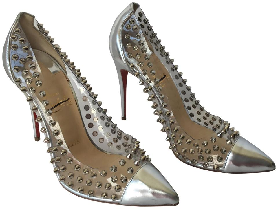 6ba41ec4736d Christian Louboutin Silver Pvc Spike Pumps Size US 8.5 Regular (M