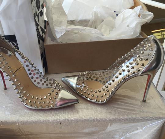 Christian Louboutin Spike Display Never Worn Metallic Silver Pumps