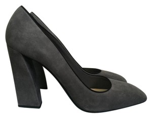 Prada Suede Chunky Heel Pump Gray Pumps