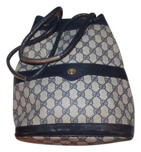 Gucci Bucket Bohemian Satchel in coated canvas navy large G logo print & leather in blues