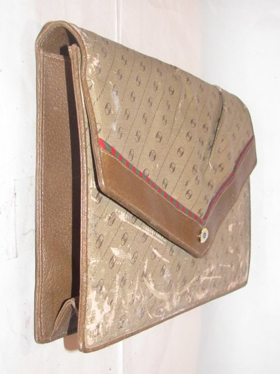 Gucci Anniversary Large True Link Logo Asymmetrical Shape Rare Style coated canvas/leather in browns with red/green Clutch