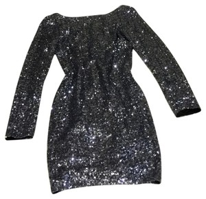 Aqua Sequence Longsleeve Sparkly Gray Dress