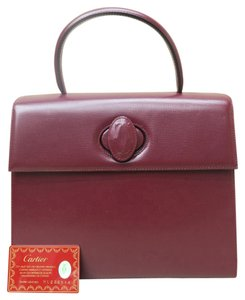 Cartier Burgundy Hanlde Leather Like New Tote in red