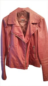 Sebby Collection Faux Leather terracotta brown /sienna brown Leather Jacket