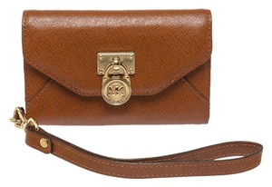 Michael Kors MK Michael Kors Brown Saffiano Leather Wristlet Wallet