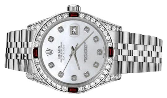 Rolex Women's Rolex 31mm Datejust White MOP Dial with Ruby & Diamond Bezel