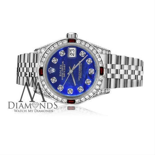Rolex Ladies Rolex 26mm Datejust Blue Treated MOP Dial With Ruby & Diamond