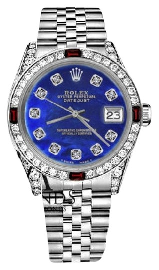 Preload https://img-static.tradesy.com/item/17821540/rolex-36mm-datejust-blue-color-treated-mop-dial-with-ruby-and-diamond-watch-0-5-540-540.jpg