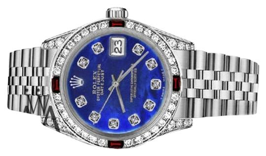 Rolex Rolex 36mm Datejust Blue Color Treated MOP Dial With Ruby & Diamond