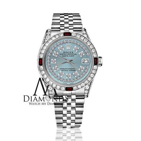 Rolex Ladies Rolex 26mm Datejust Ice Blue String Dial with Ruby & Diamond