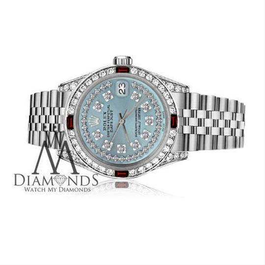 Rolex Women's Rolex 31mm Datejust Ice Blue String Dial with Ruby & Diamond