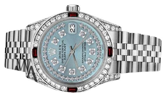 Rolex Rolex 36mm Datejust Ice Blue String Dial with Ruby & Diamond Bezel
