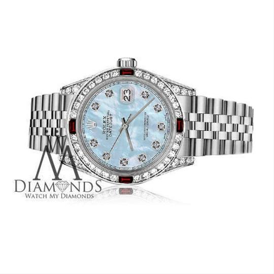 Rolex Women's Rolex 31mm Datejust Baby Blue MOP Dial with Ruby & Diamond