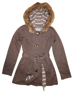 Vanity Coat Fur Trim Buttons Stripes Sweater