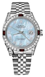 Rolex Rolex 36mm Datejust Baby Blue MOP Roman Numeral Dial with Ruby