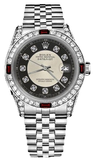Rolex Women's Rolex 31mm Datejust Silver Tuxedo Dial Ruby & Diamond