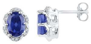 Ladies Luxury Designer 10k White Gold 2.50 Cttw Diamond & Blue Sapphire Gemstone Fashion Earrings By BrianGdesigns