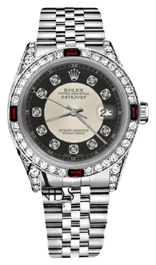 Rolex Rolex 36mm Datejust Silver Tuxedo Dial Ruby & Diamond Accent RT Watch