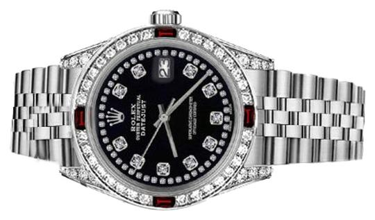 Rolex Rolex 36mm Datejust Black Color String Accent Dial with Ruby & Diamond