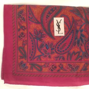 Saint Laurent Scarf 100% Silk Vintage Paisley YSL Saint Laurent