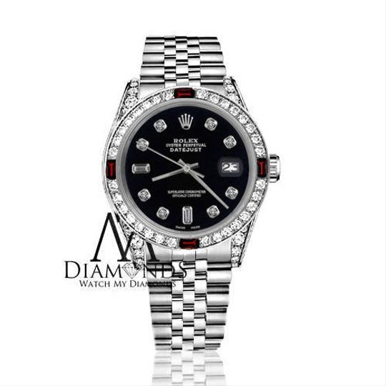 Rolex Ladies Rolex 26mm Datejust Black Color Dial with Ruby & 8+2 Diamond