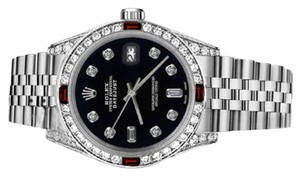 Rolex Women's Rolex 31mm Datejust Black Color Dial with Ruby & 8+2 Diamond Accent