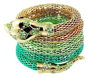 Ami Flexible Mesh Snake Bracelet - with Gold Tones & Faux Gemstones - Green.