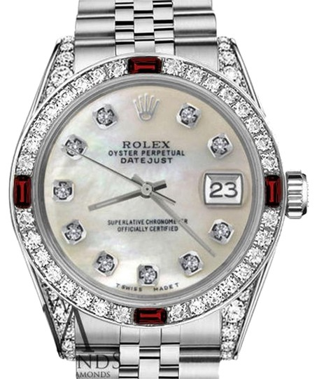 Rolex Ladies Rolex 26mm Datejust White MOP Dial Ruby & Diamond Bezel