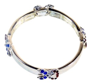 Support Ribbon Bracelet - Red, White and Blue Gemstones, Polished Silver-Tone Band.