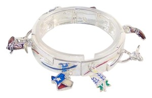 Texas Charm Bracelet - Expandable Silicone Cuff Styling - Silver Tone with Enamels.