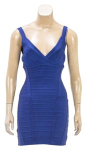Hervé Leger short dress Blue on Tradesy