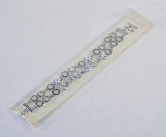 Other Fashion Jewelry Bracelet-Silver Tone,with Gemstone Studded Rings Band.