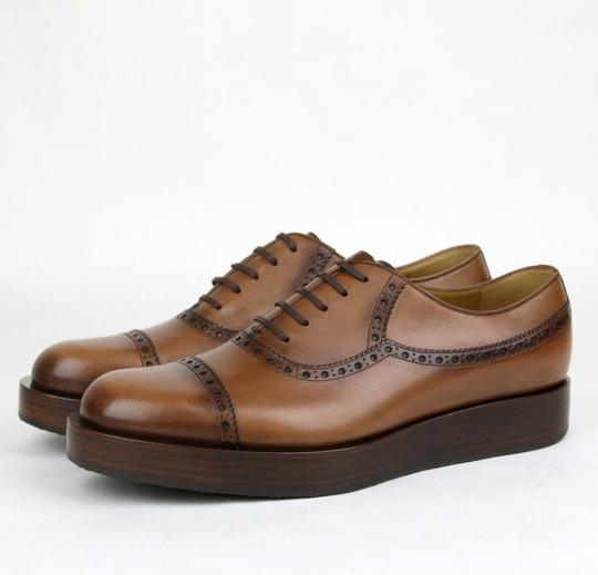 Gucci Brown2218 Mens Leather Platform Lace-up Oxford 353028 7.5/Us 8.5 Shoes