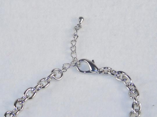 Other Fashion Jewelry Bracelet - Cuff and Chain with Faux Gemstone - Silver.