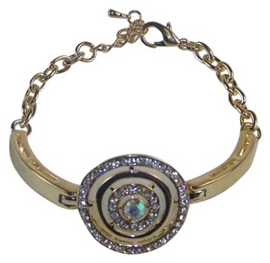 Fashion Jewelry Bracelet - Cuff and Chain with Faux Gemstone - Gold.