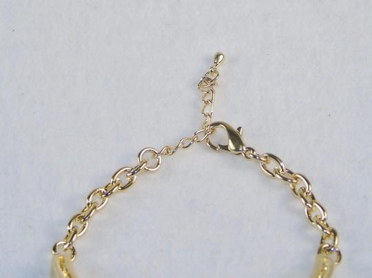 Other Fashion Jewelry Bracelet - Cuff and Chain with Faux Gemstone - Gold.