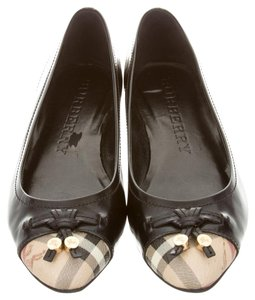 Burberry Nova Check Plaid Leather Black, Beige Flats