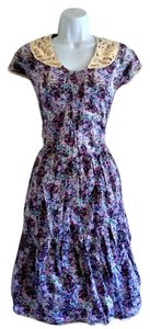 Luna Limited short dress Purple Floral Prairie Midi Retro Crochet on Tradesy