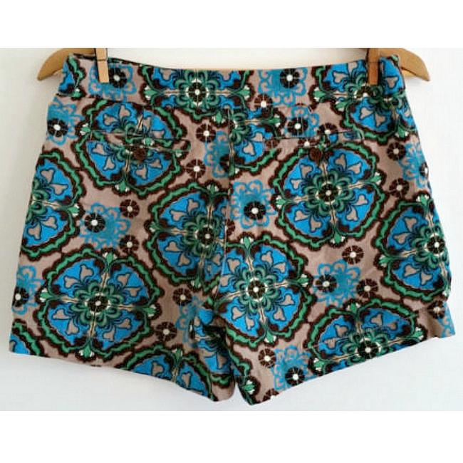 1 Madison Linen Boho Bohemian Printed Print Dress Shorts blue
