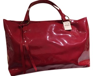Neiman Marcus Patent Tote in Red