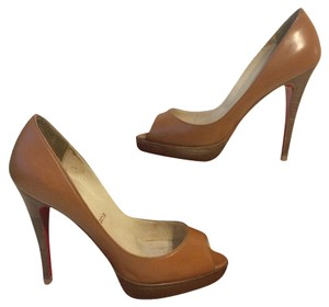 Christian Louboutin Peep Toe Brown Stack Heel Camel Pumps