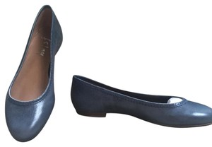 French Sole Denim Distressed Leather Flats