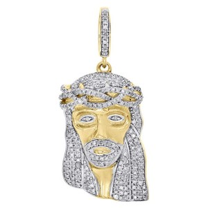 Jewelry For Less 10k Yellow Gold Diamond Mini Jesus Face Piece Pendant 1.30 Pave Charm 0.75 Ct.