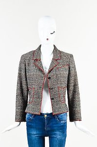 Chanel Chanel 03p Black White Red Tweed Knit Button Up Long Sleeve Blazer Jacket