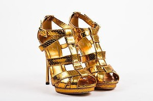 Gucci Metallic Python Leather Cage Strap Heeled Gold Sandals