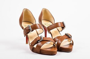 Christian Louboutin Cognac Atalanta 85 Strappy High Heel Brown Sandals